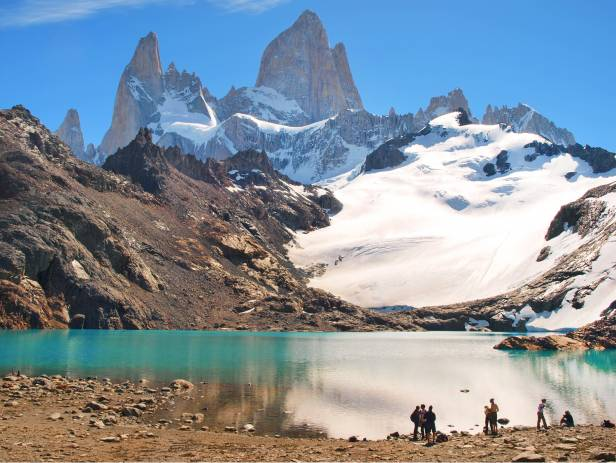 Snowy mountains dominating the landscape in El Chalten