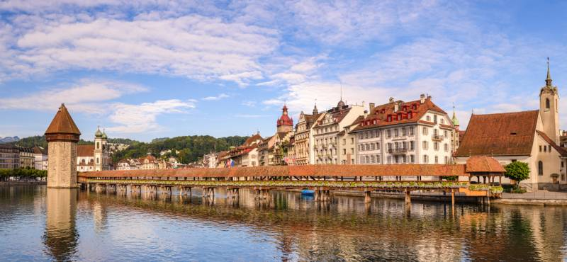 Lucerne panorama city skyline and Chapel Bridge in Switzerland