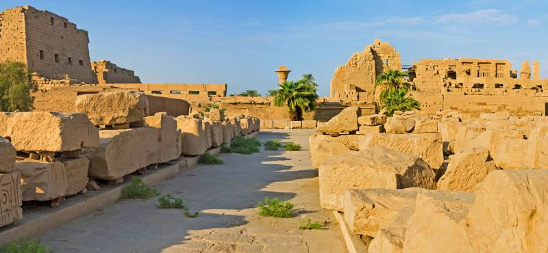 The panoramic view of the southern processional route of Karnak Temple, Luxor, Egypt