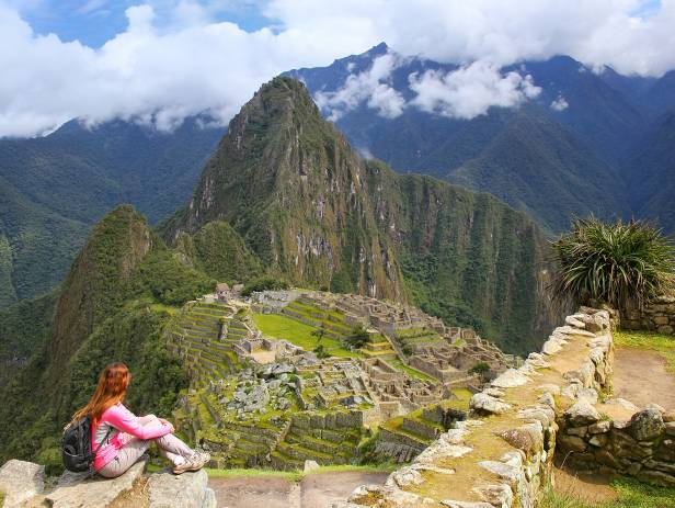 Looking out across the lost Inca citadel of Machu Picchu