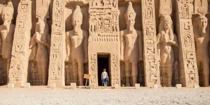 Man walking into Nefertari Temple - Egypt Tours - On The Go Tours