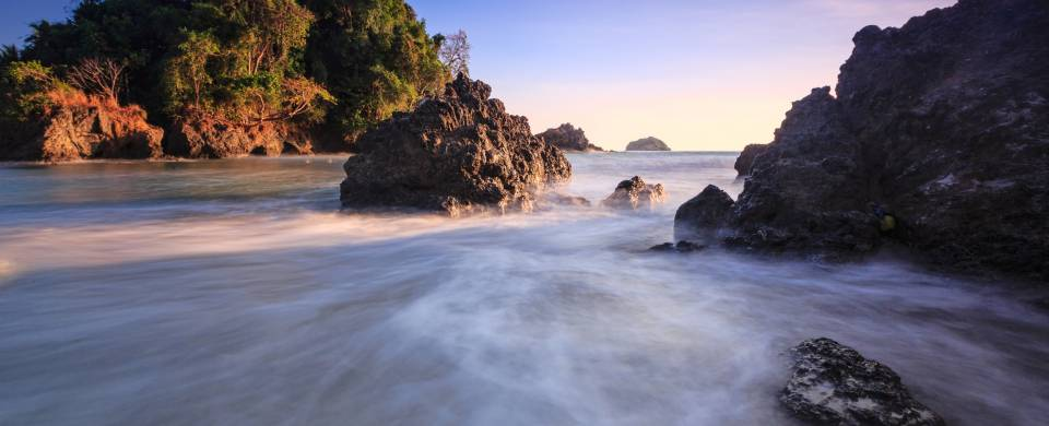 Water rushing along its course in the Manuel Antonio National Park