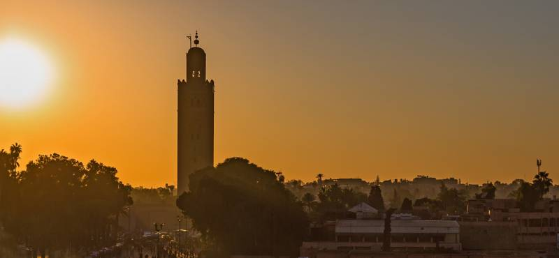 The skyline of Marrakech at sunset