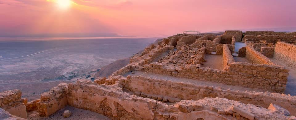 Sunrise over the incredible ruins of Masada