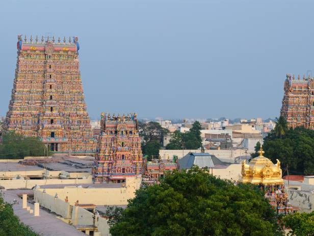 Beautiful structure sitting in the water in Madurai