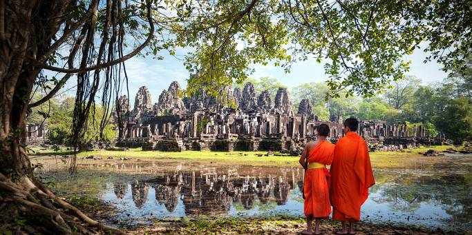 Monks at the Angkor Complex - Cambodia - On The Go Tours