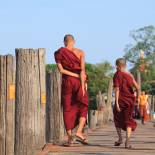 Monks on a bridge in Myanmar | Myanmar | Southeast Asia
