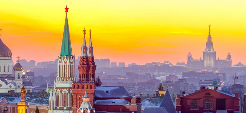 The skyline of Moscow with the Kremlin cathedrals