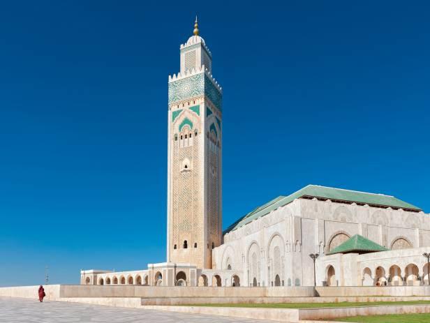 Purple sky behind the city of Casablanca