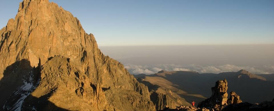 Man almost at the peak of Mount Kenya