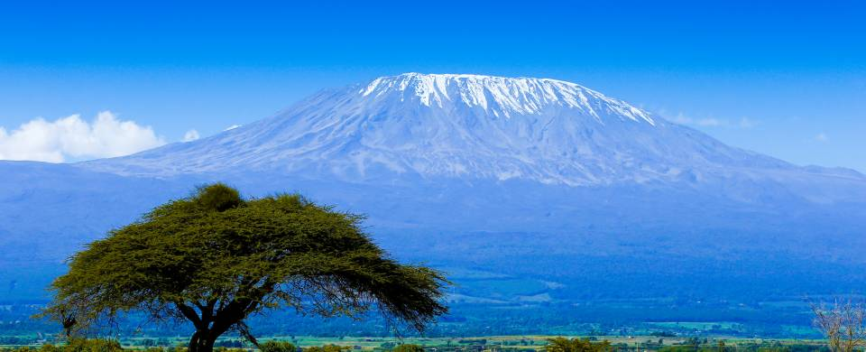 Mount Kilimajaro rising majestically in the distance