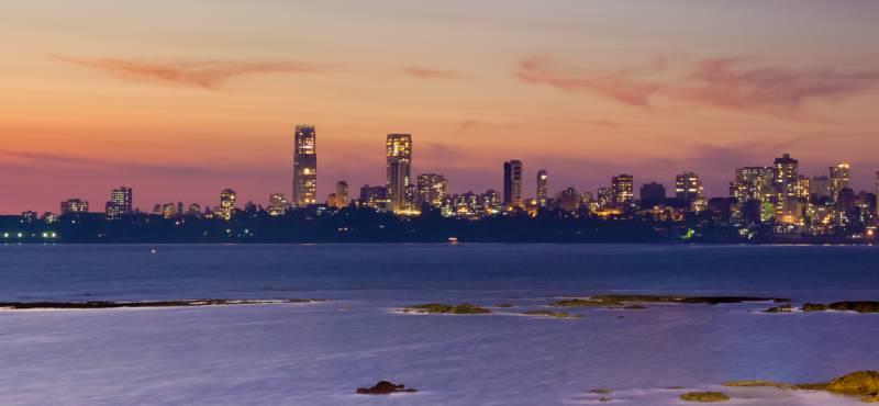 View of Mumbai skyline as seen from Marine Drive