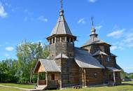 An 18th century wooden church in the open-air Museum of Wooden Architecture in Suzdal
