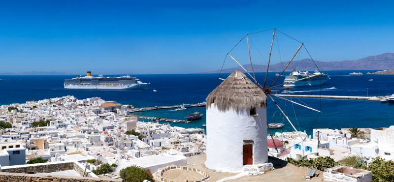 The windmills of Mykonos island in Greece