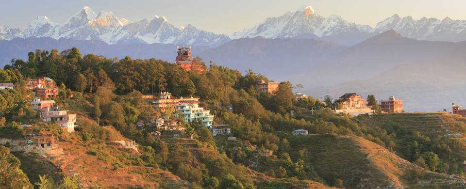 The incredible mountain scenery surrounding the village of Nagarkot in Nepal