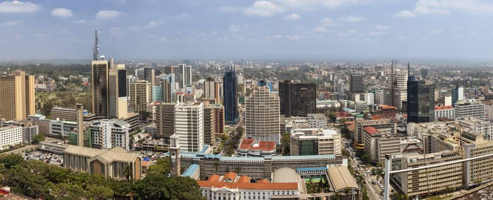 Aerial view of Nairobi and its skyscrapers
