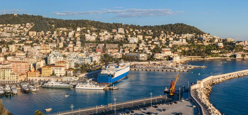 Port Lympia as seen from Colline du chateau in Nice, France