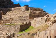 The Inca ruins of Ollantaytambo in the Sacred Valley of Peru