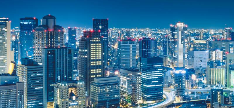 The skyscrapers of Osaka in a panoramic view