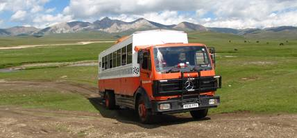 Overland truck in Central Asia