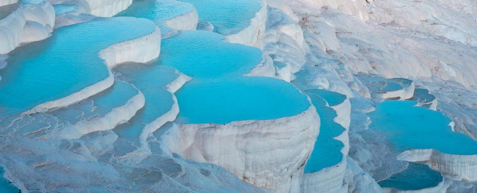 The salt encrusted pools at Pamukkale