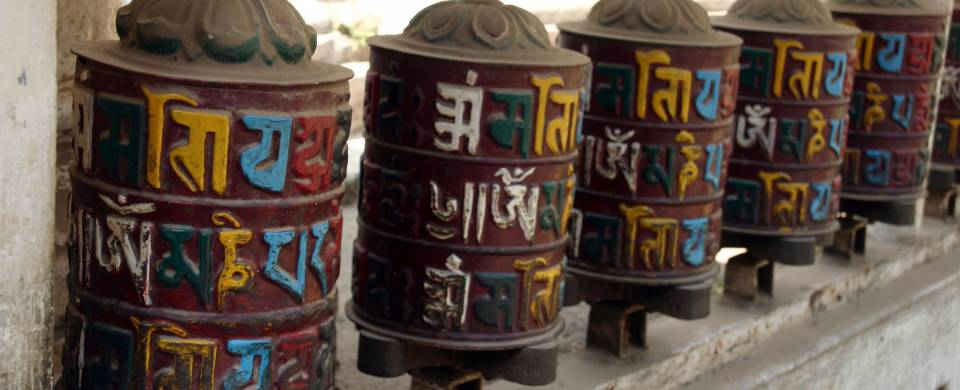 Prayer wheels in a temple in the royal city of Patan