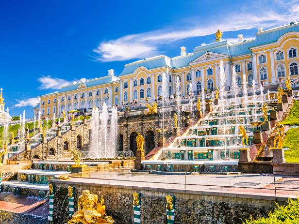 Attractive buildings lining the canals of St Petersburg