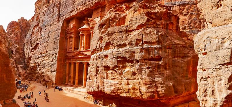 Panorama of the famed Treasury facade in Petra from the opposite mountain, Jordan