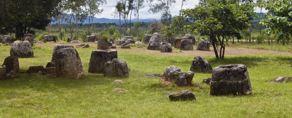 The mysterious stone jars that litter the fields of the Plain of Jars near Phonsavan