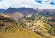 The view looking out across the agricultural terraces of Pisac in the Sacred Valley