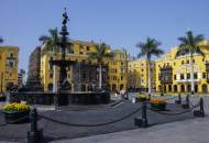 The Plaza Mayor in Lima's historic centre surrounded by important political and religious buildings