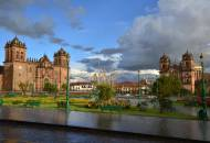 Looking across the grassy expanses of Plaza de Armas in Cuzco