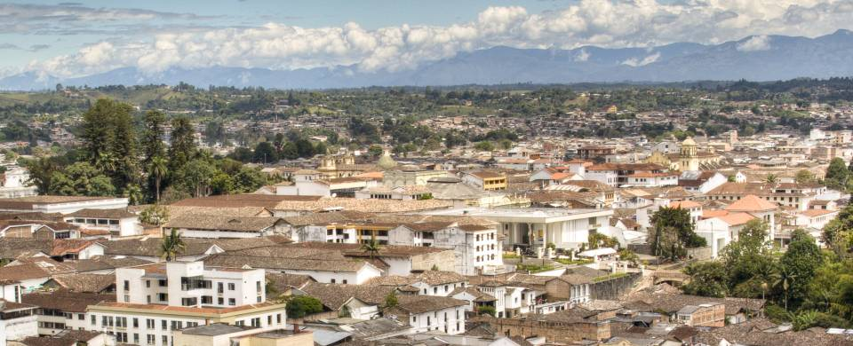 Looking out across the attractive white-washed mansions and their rooftops in Popayan
