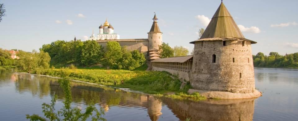 Kremlin on the water in Pskov, near Pechory