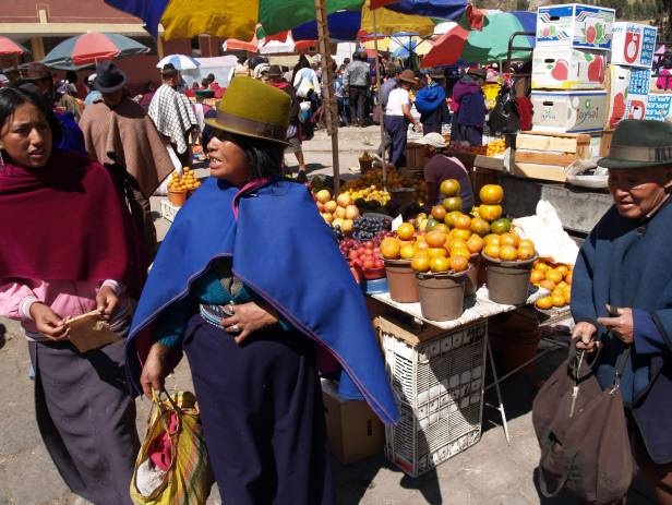 Brightly coloured textiles at a market in Otavalo