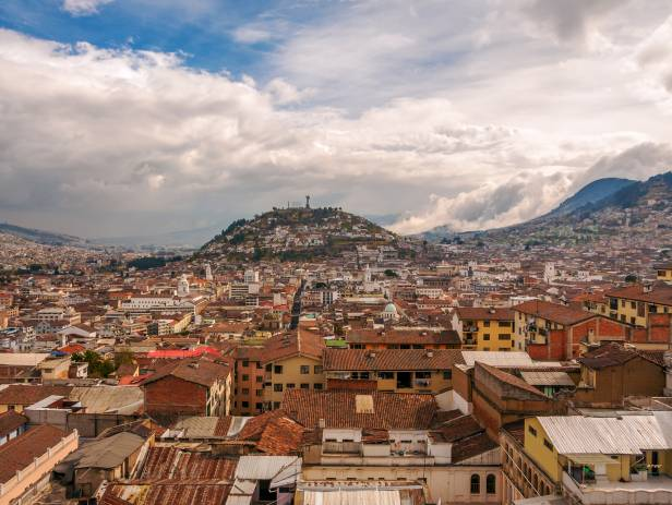 Ecuador's capital city, Quito, surrounded by mountains
