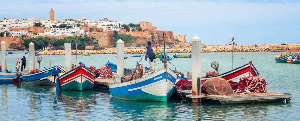 Fishing boats in a line outside of Rabat, Morocco's capital