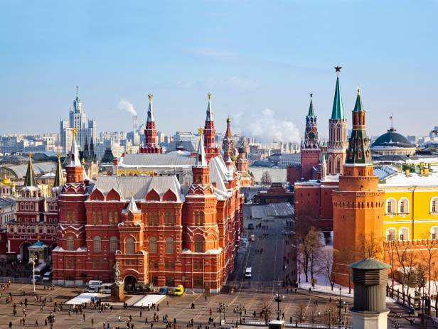 View of Moscow city including the Kremlin in the soft morning light