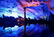 The brightly illuminated rock formations of the Reed Flute Cave in Guilin