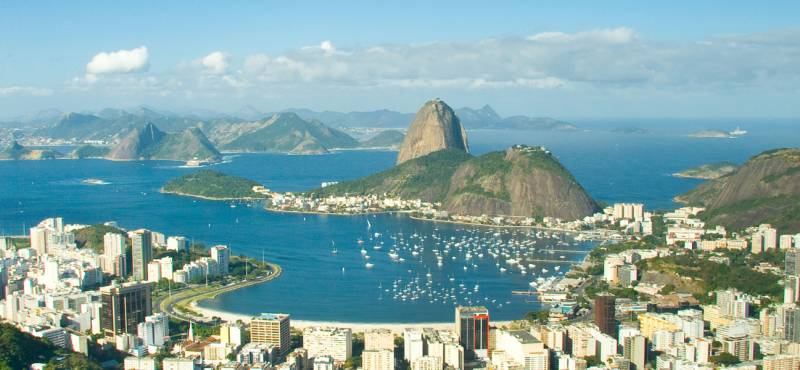 A panoramic view of Rio de Janeiro city and the natural harbour