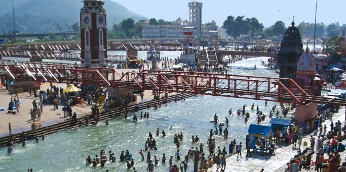 Ghats and Ram Jhula Bridge| Rishkesh | India