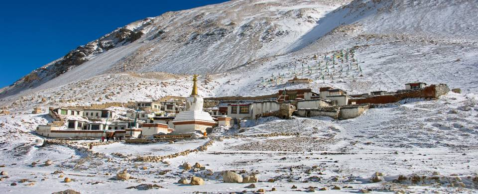 The Rongbuk Monastery at the Mount Everest Base Camp