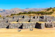 The distinctive zigzagging walls of Sacsayhuaman, Inca ruins located above the city of Cuzco