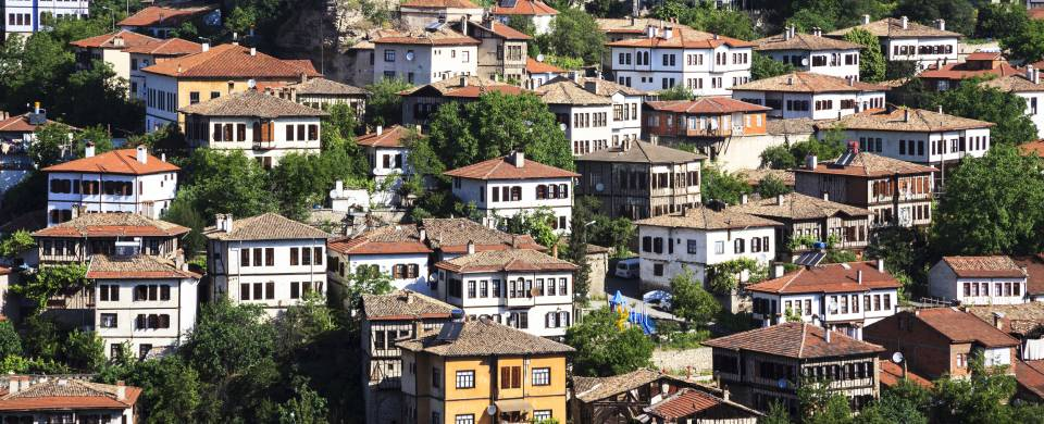 White washed houses with terracotta roofs in Safranbolu
