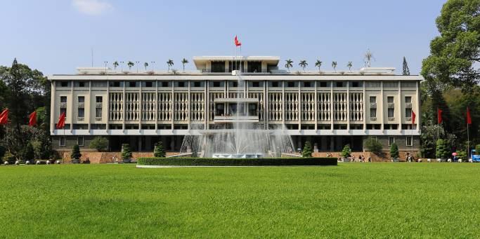 The front of the Reunification Palace in Saigon