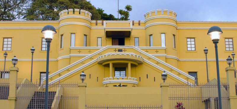 The yellow facade of the National Museum in San Jose, Costa Rica