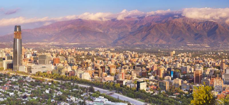 Panoramic view of Santiago with mountains in the background
