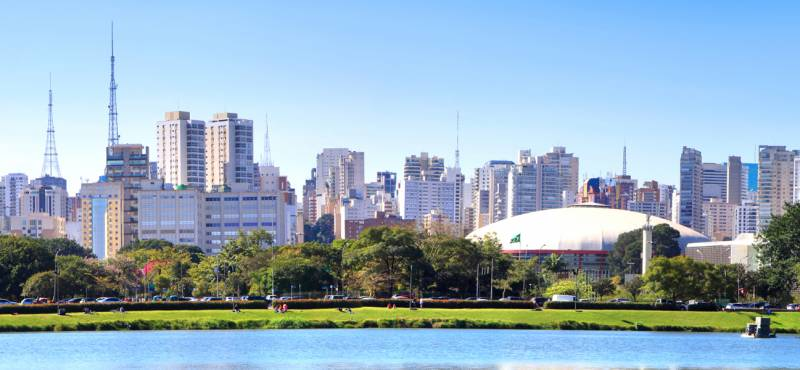 The skyline of Sao Paulo city seen from Iberiapuera park