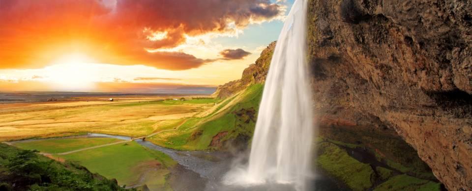 Seljalandsfoss Waterfall in Southern Iceland