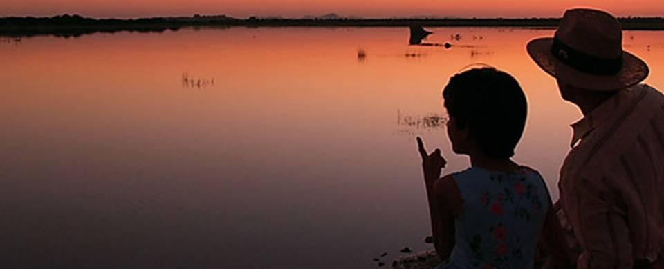 Sunset over the water at Shahpura